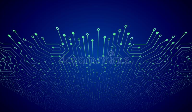 Placa de circuito abstracta del azul 3D Fondo de alta tecnología del extracto de la tecnología stock de ilustración