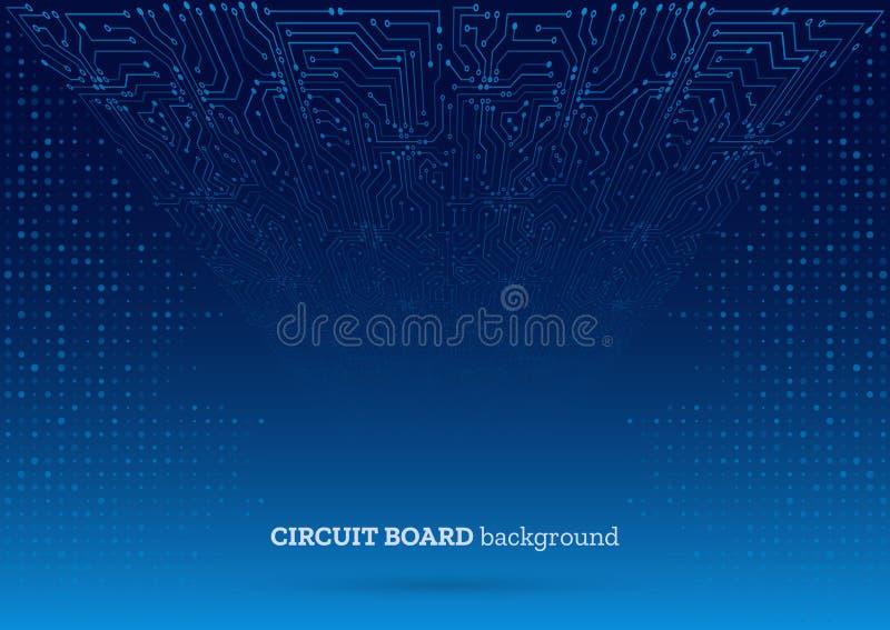 Placa de circuito abstracta del azul 3D Fondo de alta tecnolog?a del extracto de la tecnolog?a stock de ilustración