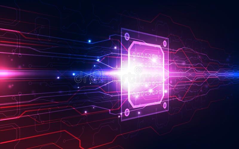 Placa de circuito abstracta del fondo del procesador del microprocesador de la tecnología y código del HTML, vector azul del fond libre illustration