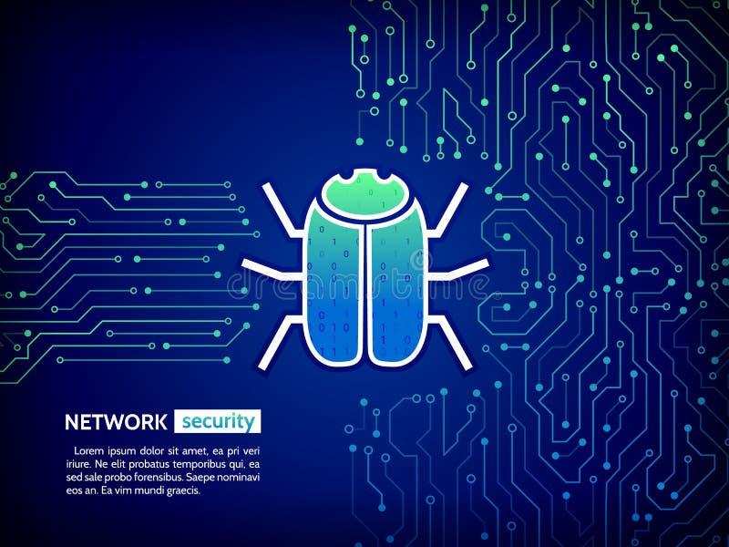 Placa de circuito de alta tecnología abstracta con el insecto del pirata informático El cortar y crimen cibernético libre illustration