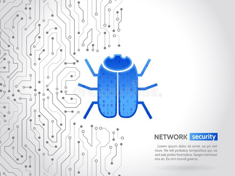 Placa de circuito de alta tecnología abstracta con el insecto del pirata informático El cortar y crimen cibernético Concepto pers ilustración del vector