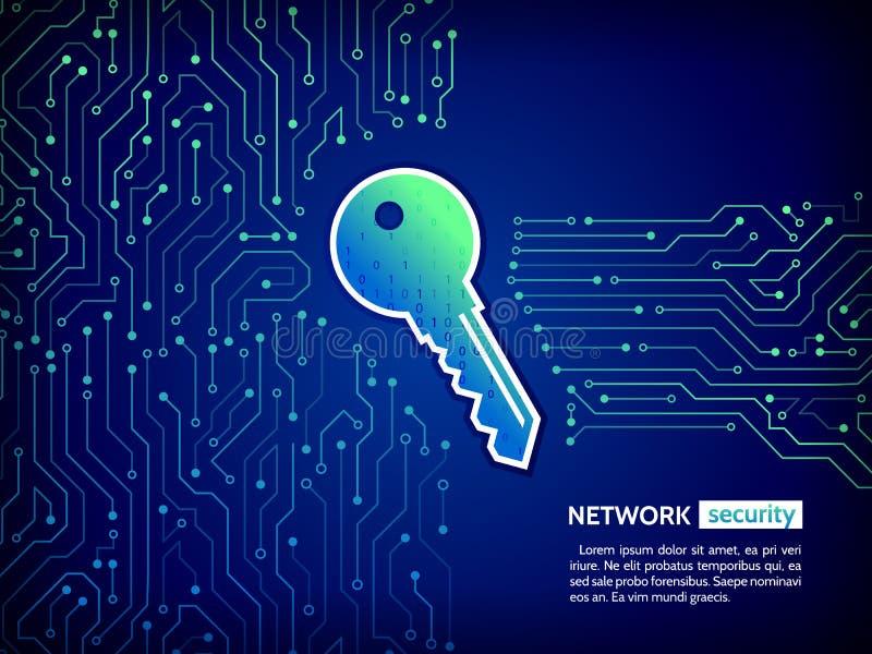 Placa de circuito de alta tecnología abstracta con llave de la tecnología Fondo del concepto de la seguridad ilustración del vector