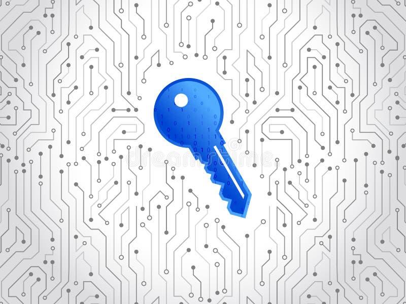 Placa de circuito de alta tecnología abstracta con llave de la tecnología Fondo del concepto de la seguridad Seguridad de datos c ilustración del vector