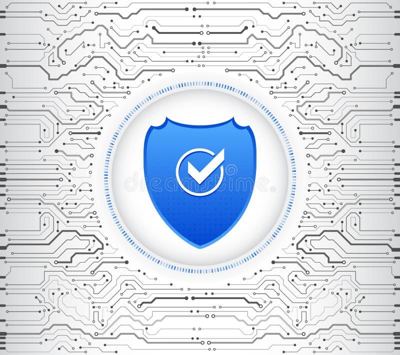 Placa de circuito de alta tecnología abstracta Concepto del escudo de la seguridad Seguridad de Internet ilustración del vector