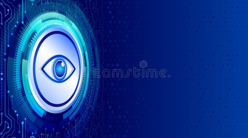 Placa de circuito de alta tecnología isométrica abstracta con datos cibernéticos del ojo stock de ilustración