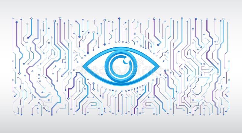 Placa de circuito de alta tecnolog?a abstracta Concepto cibern?tico de la seguridad del ojo ilustración del vector