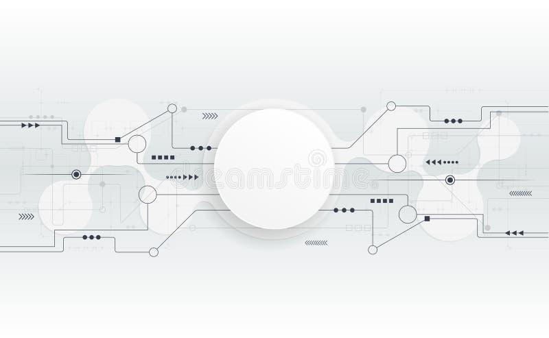 Placa de circuito blanca futurista del extracto del ejemplo del vector stock de ilustración