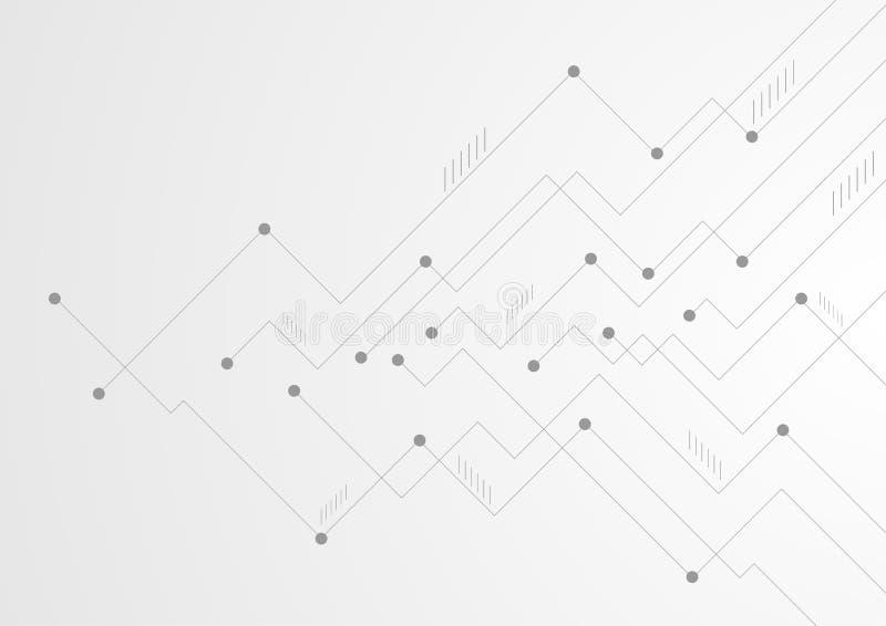 A placa de circuito cinzenta abstrata da tecnologia alinha o fundo da microplaqueta ilustração do vetor