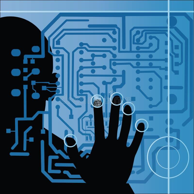 Placa de circuito com silhueta e mão humanas   ilustração royalty free