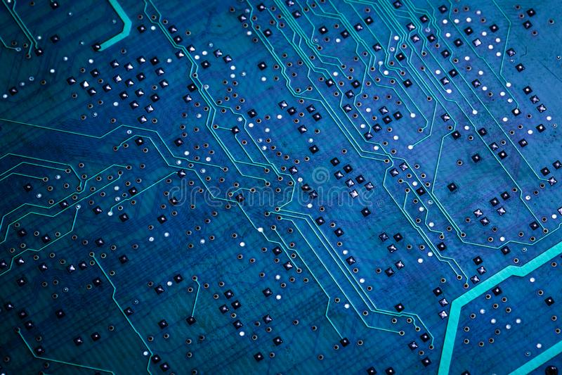 Placa de circuito de computador azul impressa fotos de stock royalty free