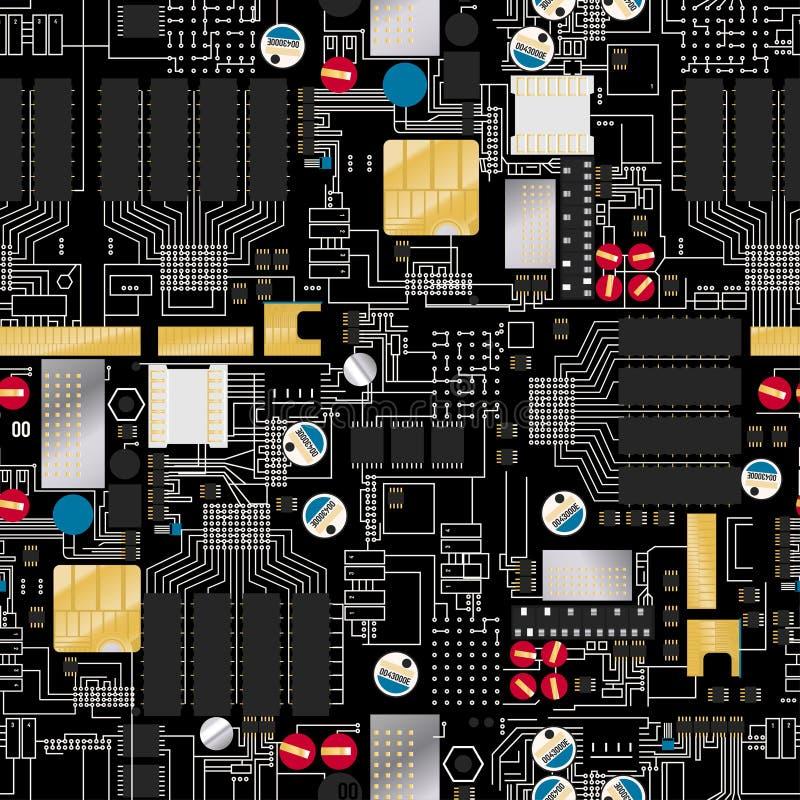 Placa de circuito con los componentes y el modelo inconsútil de los alambres stock de ilustración