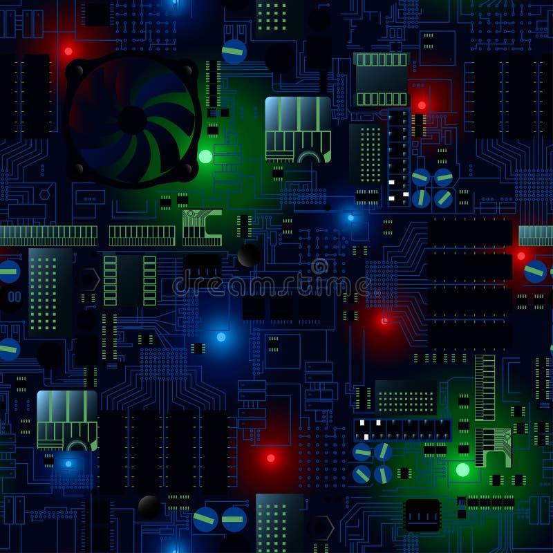 Placa de circuito con los LED y el modelo inconsútil de los alambres libre illustration