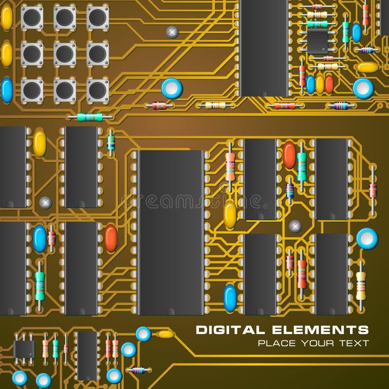 Placa de circuito con los microchipes