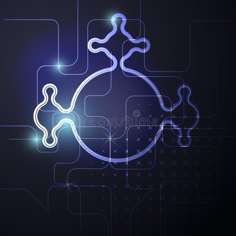 Placa de circuito de neón, fondo abstracto, ejemplo eps10 de la tecnología stock de ilustración