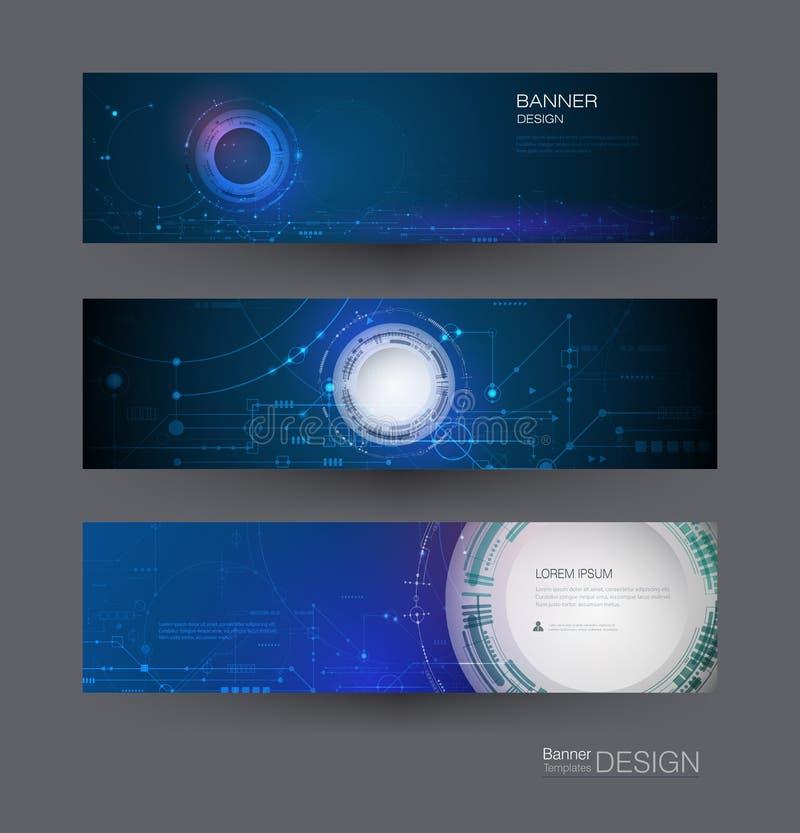 Placa de circuito del diseño de sistema de la bandera del vector Futurista moderno del extracto del ejemplo, ingeniería, fondo de stock de ilustración