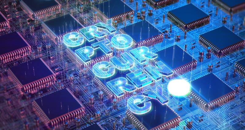 Placa de circuito del ordenador con los microprocesadores asic múltiples y palabra del cryptocurrency Concepto de la explotación  ilustración del vector