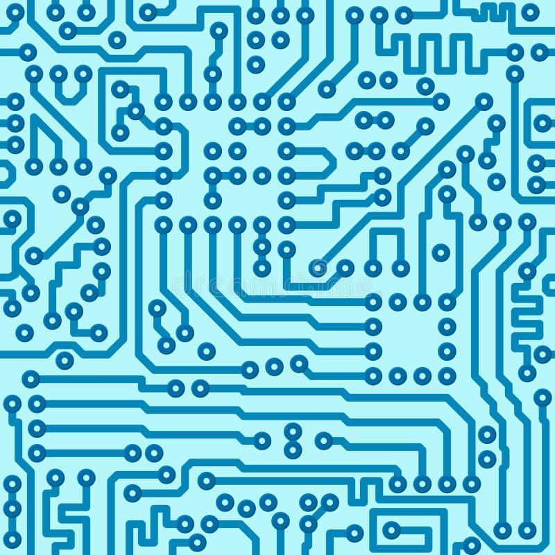 Placa de circuito digital electrónica - vector inconsútil stock de ilustración