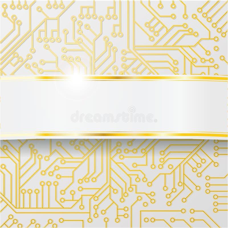 Placa de circuito do computador com fiação e a faixa dourada ilustração do vetor