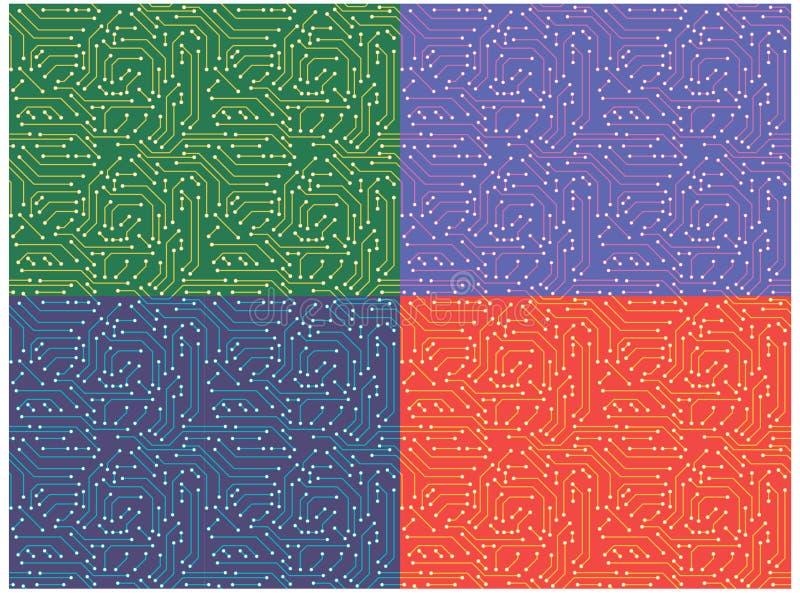 Placa de circuito do computador Teste padrão sem emenda ilustração do vetor