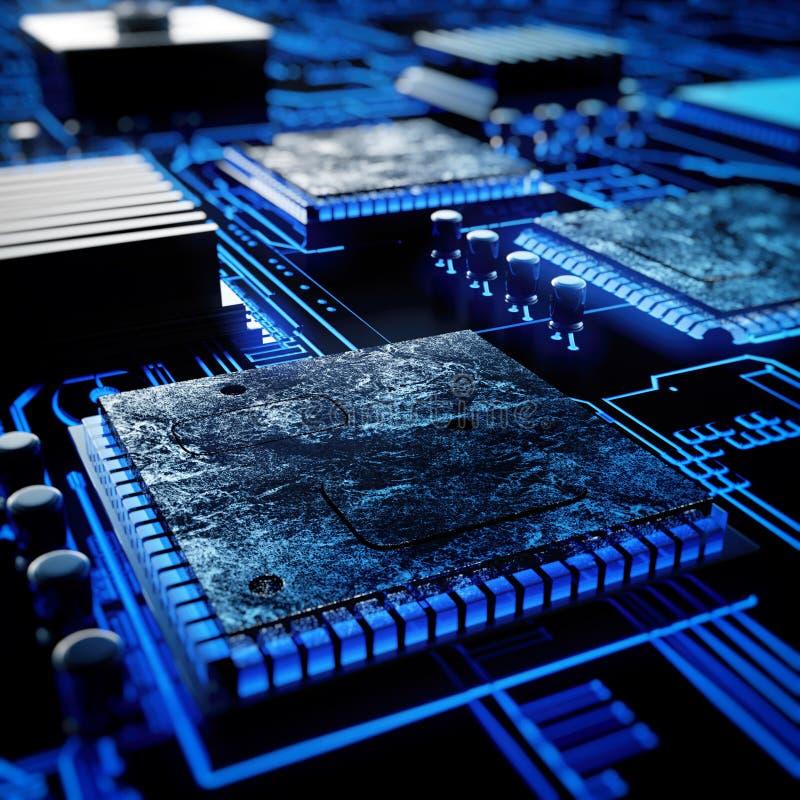 Placa de circuito electrónica con los microprocesadores libre illustration