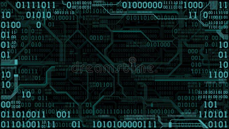 Placa de circuito electrónica futurista abstracta con el código binario, fondo de la tecnología digital del ordenador, marco ilustración del vector