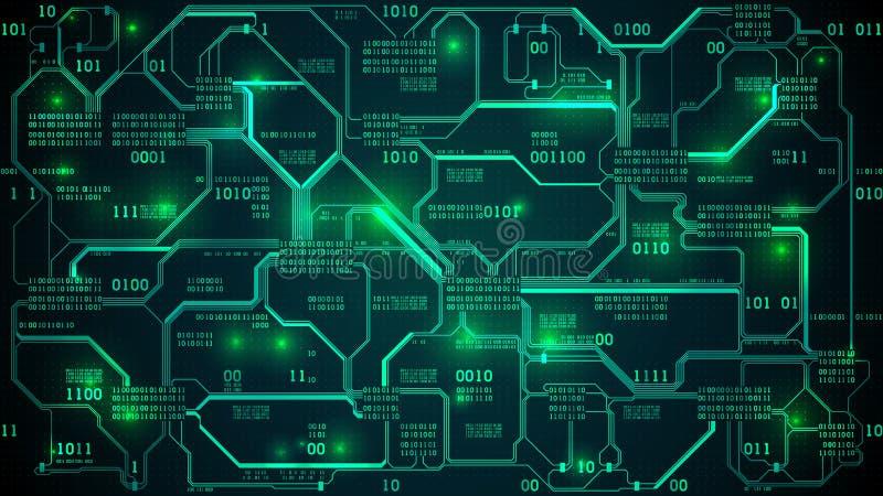 Placa de circuito electrónica futurista abstracta con la inteligencia artificial del código binario, de la red neuronal y de los  ilustración del vector