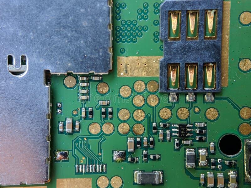 Placa de circuito electrónica, circuito integrado IC, usado para el papel pintado, usado como libro ilustrado imagenes de archivo