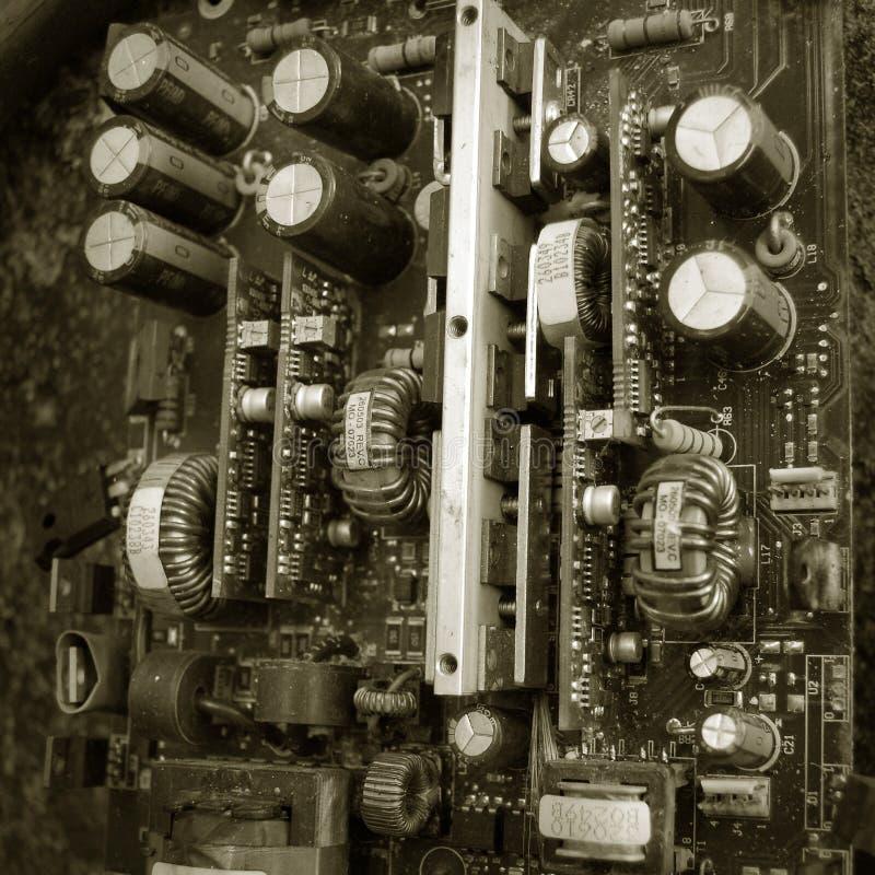 Placa de circuito eletrônico velha foto de stock royalty free
