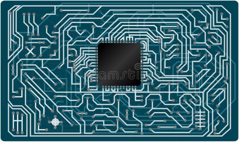 Placa de circuito eletrônico do vetor ilustração stock