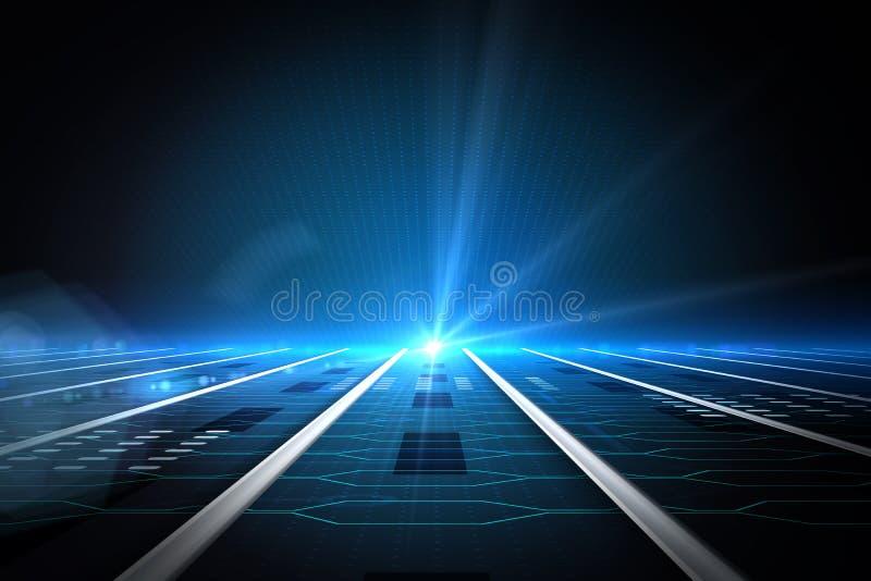 Placa de circuito en fondo futurista ilustración del vector