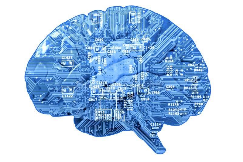 Placa de circuito en forma de cerebro humano foto de archivo
