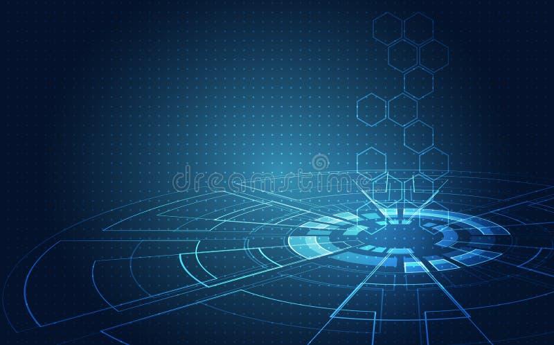 Placa de circuito futurista abstracta, alto concepto de la tecnología digital del ordenador del ejemplo, fondo del vector ilustración del vector