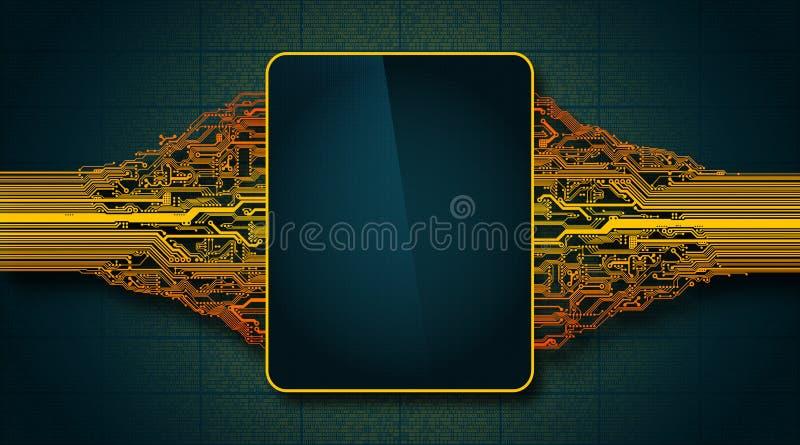 Placa de circuito futurista abstracta con la visualización electrónica, concepto de alta tecnología de la tecnología digital del  ilustración del vector