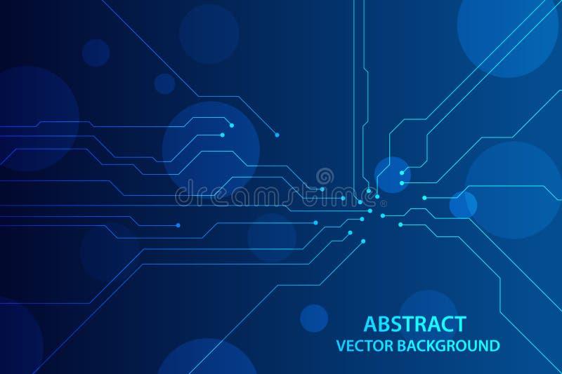 Placa de circuito futurista abstracta, concepto de alta tecnología de la tecnología digital Ilustración del vector ilustración del vector