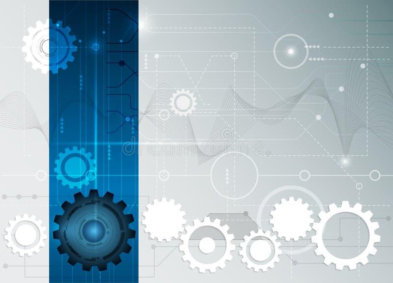 Placa de circuito futurista abstracta del vector con la rueda de engranaje libre illustration