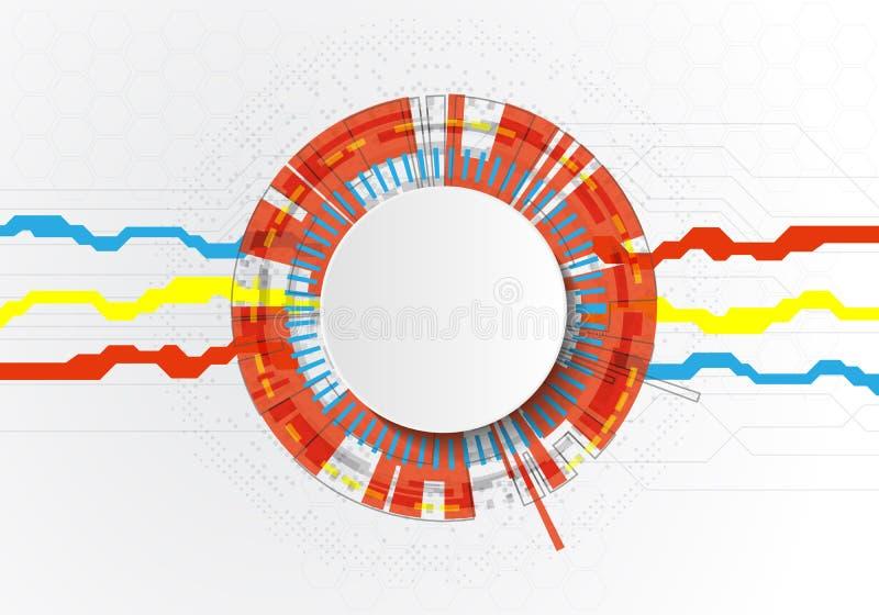 Placa de circuito futurista y Cricle, concepto de alta tecnología de la tecnología digital del ordenador, espacio en blanco 3d bl stock de ilustración