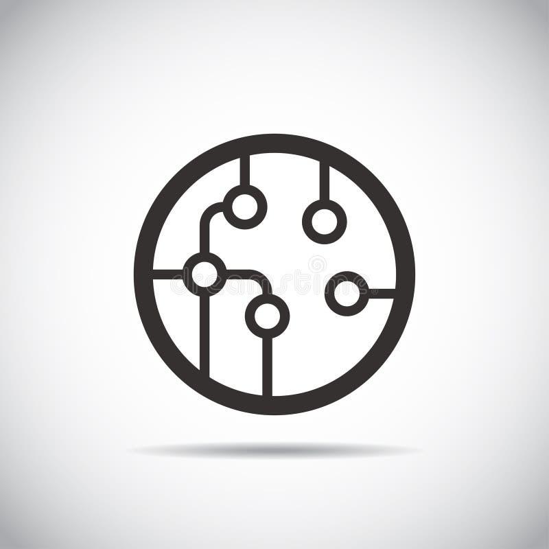 Placa de circuito, icono de la tecnología, ejemplo Estilo plano del diseño ilustración del vector