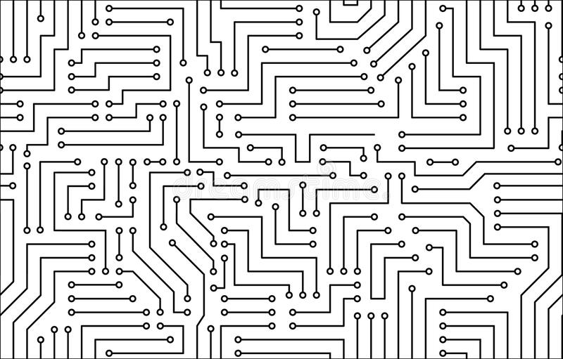 Placa de circuito impresa blanco y negro ilustración del vector