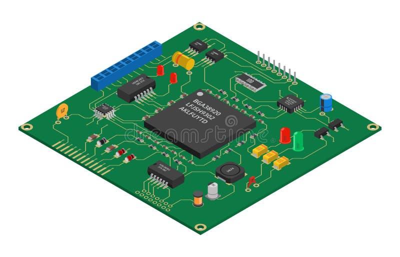 Placa de circuito impresa vector isométrico libre illustration