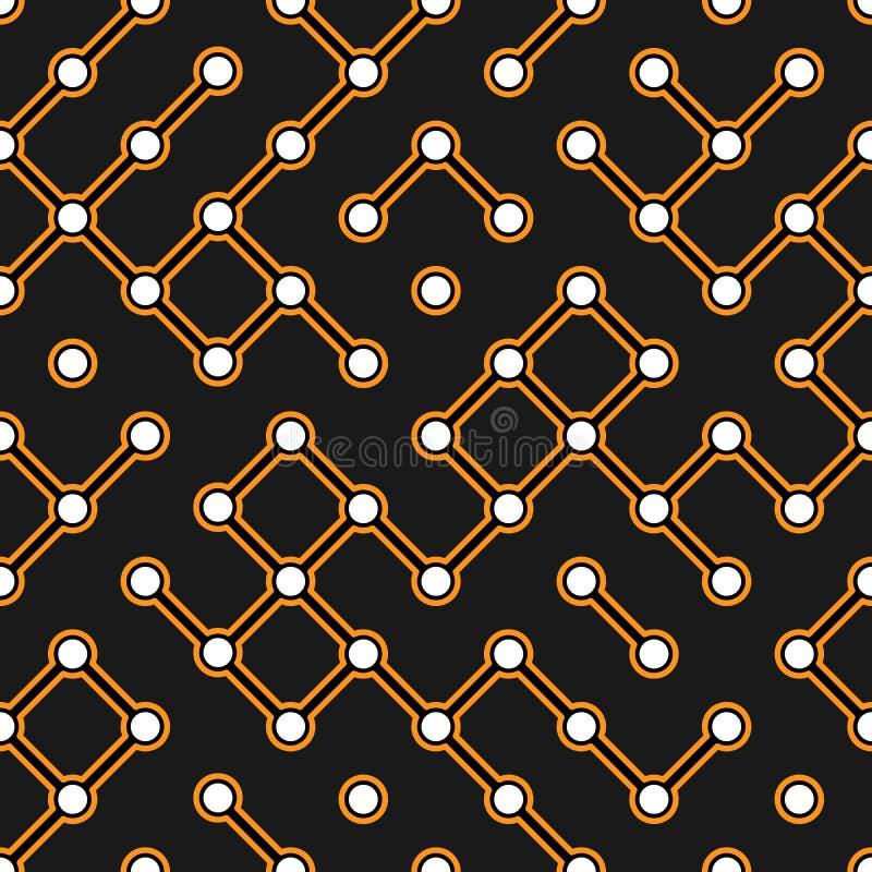 Placa de circuito negra con el modelo inconsútil de los conectores del electroscheme anaranjado del vector stock de ilustración