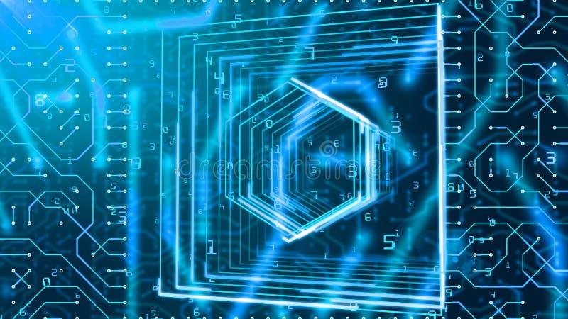 Placa de circuito obliquamente e dígitos da matriz ilustração stock