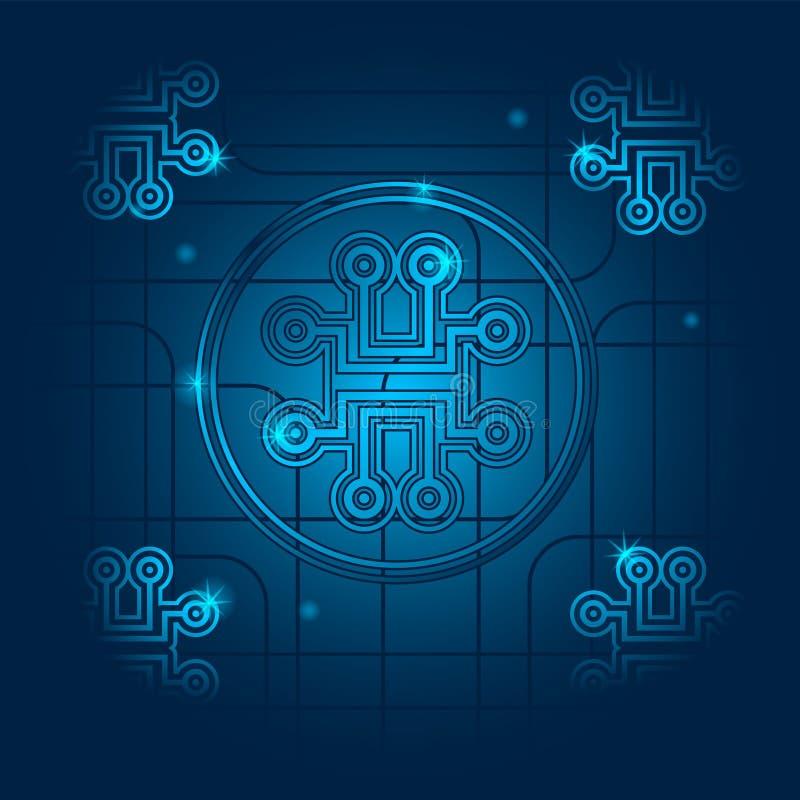 Placa de circuito de tecnologia abstrata de luz azul, conceito de engenharia digital de alta tecnologia, fundo de ilustração veto ilustração do vetor