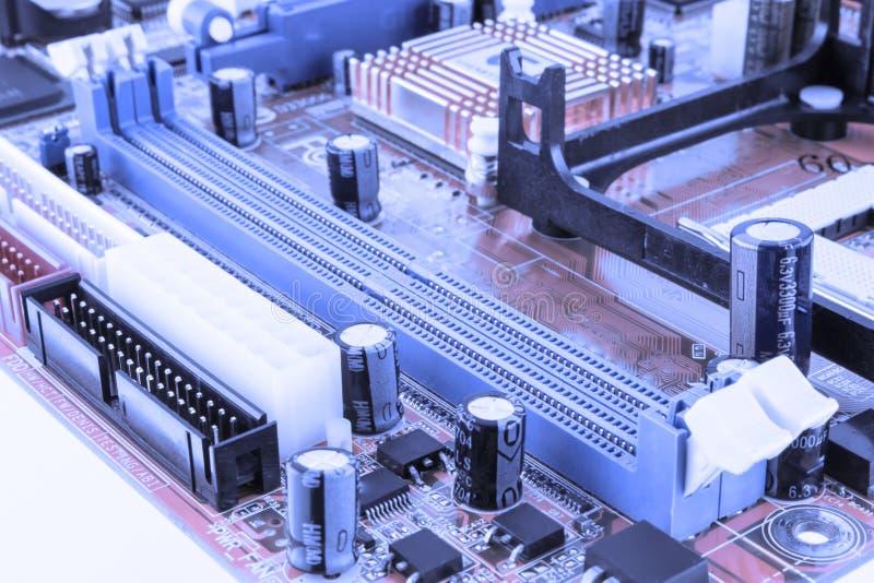 Placa de circuito Tecnologia de material informático eletrônica Microplaqueta digital do cartão-matriz Fundo da ciência da tecnol fotografia de stock