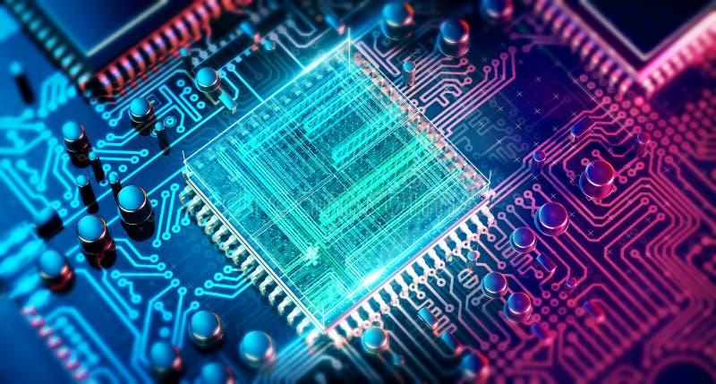 Placa de circuito Tecnologia de material informático eletrônica Microplaqueta digital do cartão-matriz Fundo da ciência EDA da te