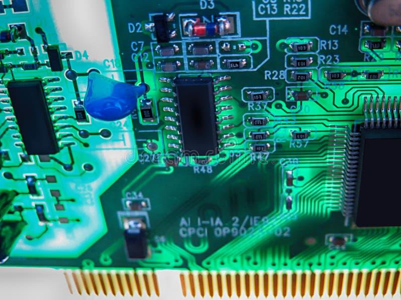 Placa de circuito de uma placa de rede para o computador pessoal imagem de stock