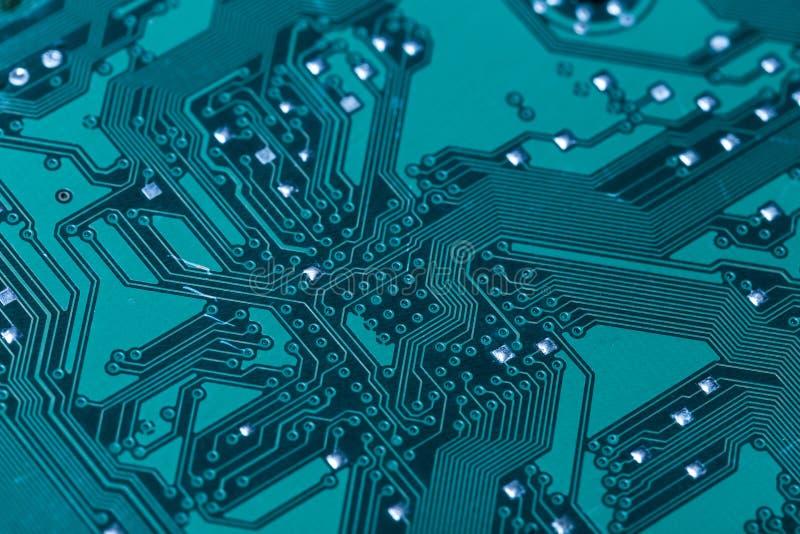 Placa de circuito verde impressa do computador fotografia de stock