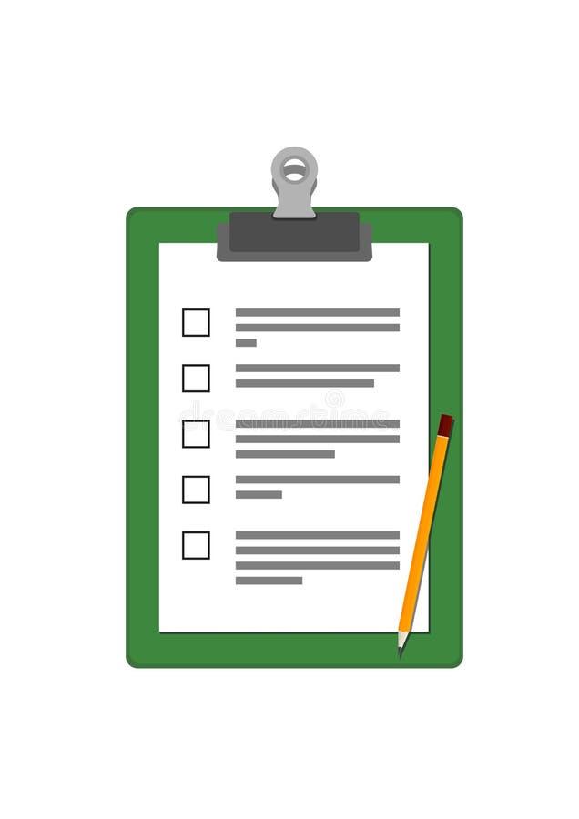 Placa de clipe de papel com questionário e lápis ilustração royalty free