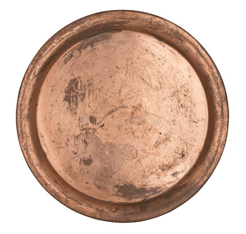 Placa de cobre antiga do metal isolada no fundo branco Estilo retro vintage fotografia de stock royalty free