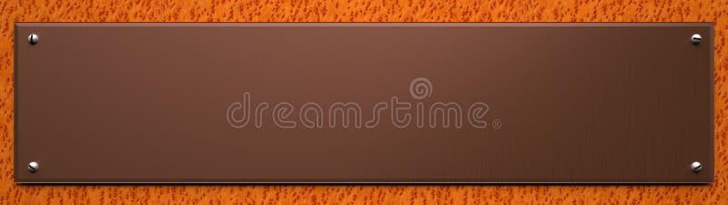 Placa de cobre en blanco en el fondo de madera stock de ilustración