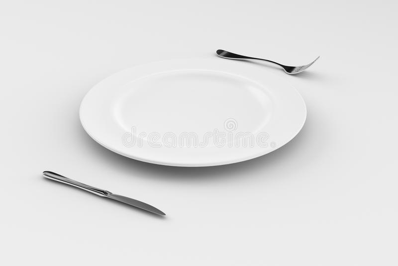 Placa de comensal, faca, e forquilha fotografia de stock